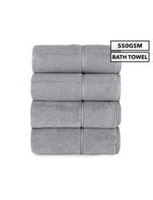 4-Pack Luxury Living Boston Bath Towel 550GSM Cotton - Grey