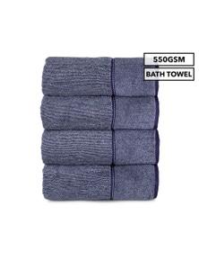 4-Pack Luxury Living Boston Bath Towel 550GSM Cotton - Blue