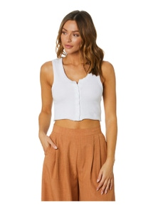 All About Eve Women's Leah Button Up Tank Cotton
