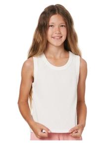 Eves Sister Girls Waffle Tank - Kids Crew Neck Sleeveless Cotton