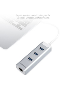 mbeat HAMILTON 3 Por USB 3.0 Hub with Gigabit Lan for Ultrabook & Mac
