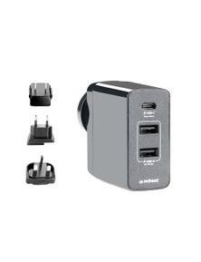 mbeat GorillaPower 3-Port USB-C Power DeliveryPD World Travel Charger with Interchangeable Plugs