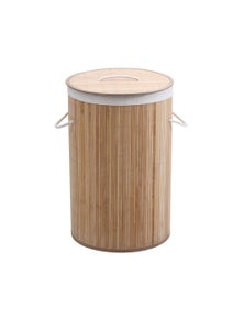 Sherwood Home Round Collapsible Bamboo Laundry Hamper with Polycotton bag