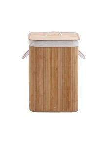 Sherwood Home Rectangular Collapsible Bamboo Laundry Hamper with Polycotton