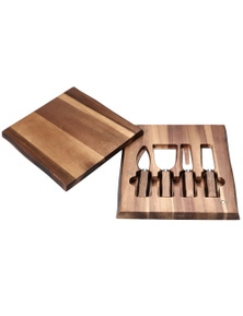 Sherwood Home 4 Piece Cheese Knife Set with Acacia Board