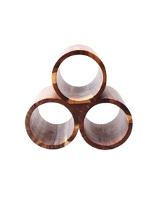 Sherwood Home Acacia Round 3 Bottle Wine Rack