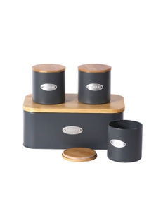 Sherwood Home Bread Box and Canister Set with Natural Bamboo Lids