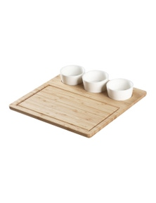 Sherwood Home Bamboo Serving Platter with 3 Ceramic Dishes
