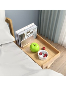 Sherwood Home Bamboo Bed Side Shelf Table with Adustable Clamp
