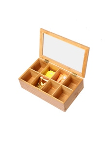 Sherwood Home Bamboo 8 Compartment Tea Box with Window Natural Brown