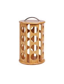 Sherwood Home Bamboo 24 Coffee Pod Carousel Dolce Gusto Compatible Natural Brown