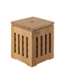 Sherwood Home Bamboo Cube Zen Ultrasonic Essential Oil Diffuser with Light