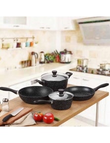Gourmet Kitchen 4 Piece Marble Non Stick Stone Coated Cookware Set with 2 lids