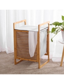 Sherwood Home Foldable Bamboo Laundry Basket Hamper with Lid and Handle