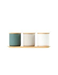 Sherwood Home Round Ceramic Bamboo Seasoning Jar Set