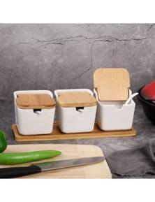 Sherwood Home Ceramic Bamboo Spice and Seasoning Jar Set