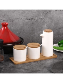 Sherwood Home Ceramic Bamboo Spice Jar and Oil Pourer