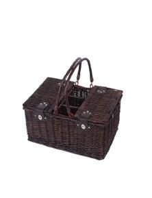 Sherwood Home Newbury Dark Brown Wicker Picnic Basket 4 People