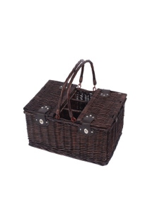 Sherwood Home Newbury Dark Brown Wicker Picnic Basket 4 People