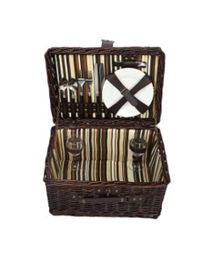 Sherwood Home Newbury Dark Brown Wicker Picnic Basket 2 People