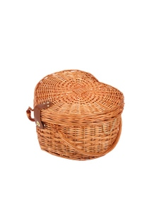 Sherwood Home Adelaide Natural Heat-Shaped Wicker Picnic Basket 4 People