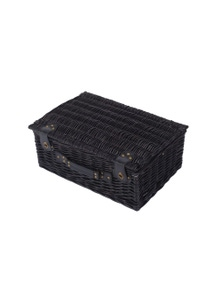 Sherwood Home Newbury Black Wicker Picnic Basket 4 People