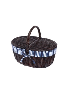 Sherwood Home Oval Wicker Handle Basket Dark Brown