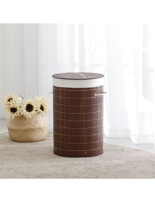 Sherwood Home Round Folding Bamboo Laundry Basket Hamper with Lid Natural Bamboo