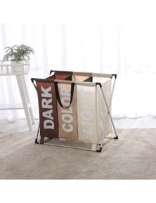 Sherwood Home Foldable Oxford Fabric Laundry Bag Aluminum Frame with 3 Individual Sections