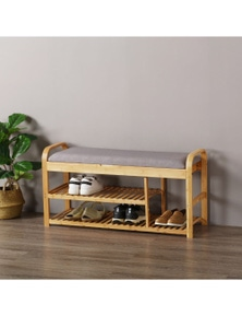 Sherwood Home Foldable Bamboo Cushioned Bench Shoe Storage 3 Tier