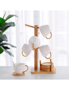Gourmet Kitchen Bamboo Tea and Coffee Cup Rack with 6 Coasters