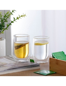 Sherwood Home Double Wall Coffee Glass - Set of 2 x 290ml Cups