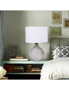 Sherwood Lighting Textured Concrete Bedside Table Lamp