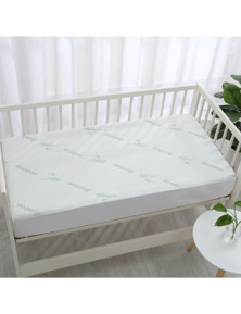 Dreamaker 260gsm Bamboo Knitted Cot Waterproof Mattress Protector Fitted Sheet