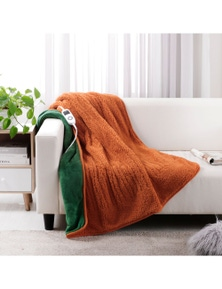 Dreamaker Reversible Sherpa and Coral Fleece Heated Throw