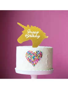 Bake Group Cake Topper - Gold Unicorn Happy Birthday
