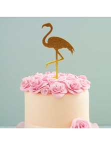 Bake Group Cake Topper - Gold Flamingo