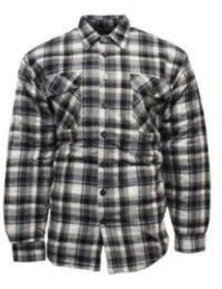 Bisley Men's Quilted Flannelette Shirt Cotton Padded Warm Winter Flannel - Black/White/Blue