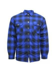 Bisley Men's Quilted Flannelette Shirt Cotton Padded Warm Winter Flannel - Blue/Black