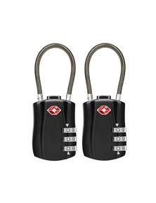 Jet Set TSA Combination Cable Luggage Lock 2 Pack - Black