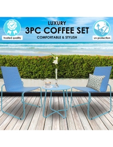 Milano Outdoor Steel/Rattan 3 Piece Blue Coffee Set (1 Box)