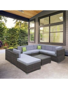 Milano Outdoor 9 Piece Oatmeal Rattan Sofa Set - Oatmeal Brown Coating And Grey Seats