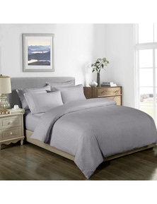 Royal Comfort 1000TC 3 Piece Striped Blended Bamboo Quilt Cover Set