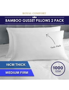 Royal Comfort Luxury Bamboo Gusset Pillow - Twin Pack