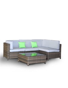 Milano Outdoor 5 Piece Rattan Sofa Set - Oatmeal and Black