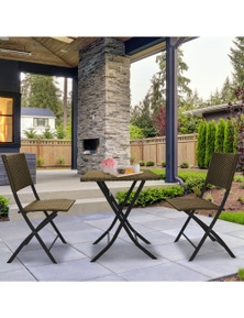 Arcadia Furniture 3 Piece Outdoor Folding Rattan Coffee Set