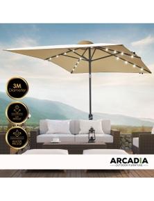 Arcadia Furniture Outdoor 3 Metre Garden Umbrella with In-Built Solar LED Lights