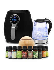 Kitchen Couture 5L Air Fryer + Pursonic Kettle + USB Diffuser Light Wood - Appliance Set