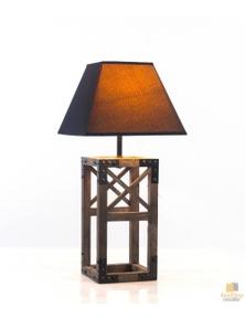 Designer Wooden TABLE LAMP Modern Rustic Geo Industrial Retro New Desk Light