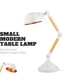 40cm Small Modern Bailer Shape Table Lamp Natural Modern Bedside Desk - White/Gold